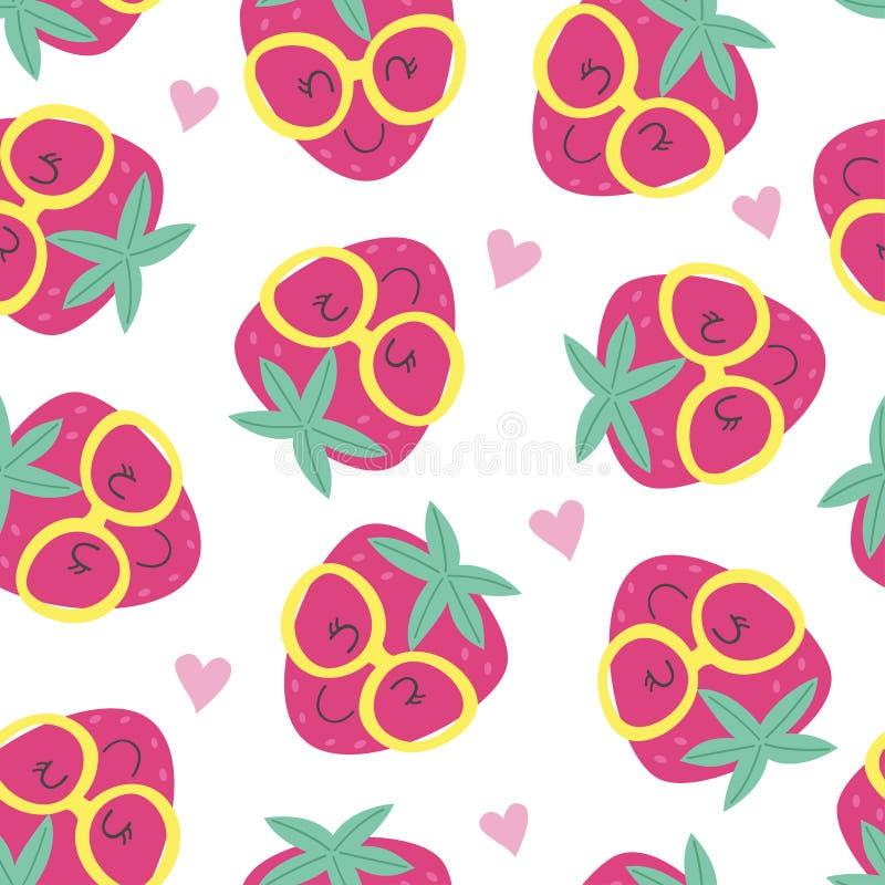 Modèle sans couture avec la fraise mignonne illustration de vecteur