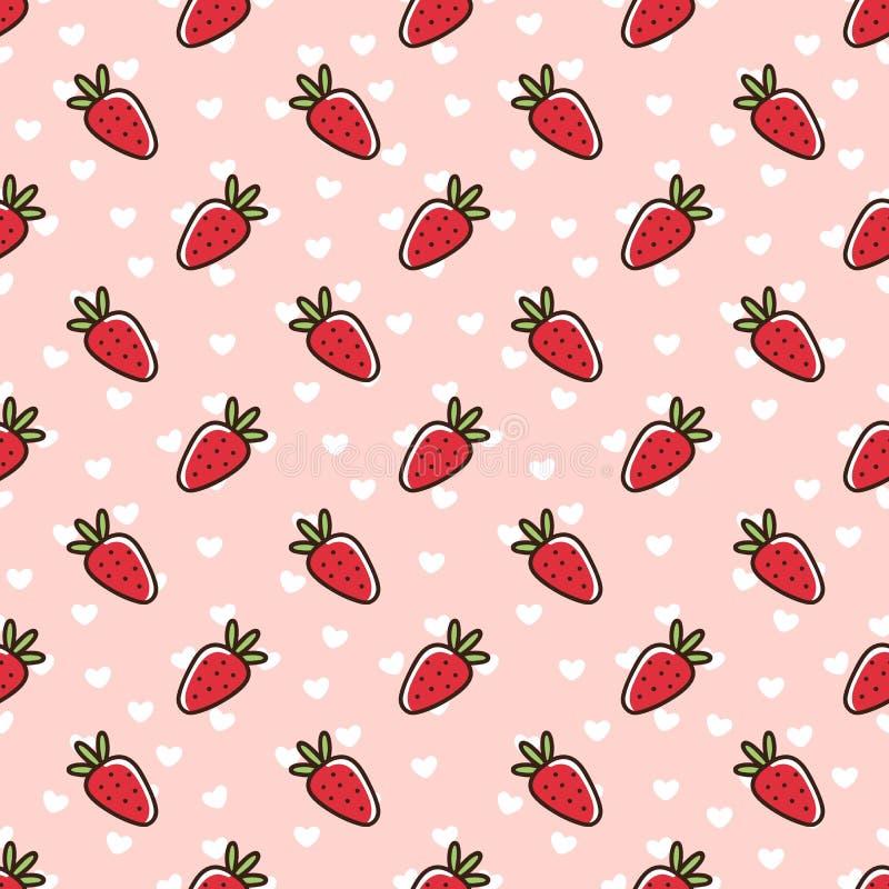 Modèle sans couture avec la fraise, sur un fond rose avec les coeurs blancs illustration libre de droits