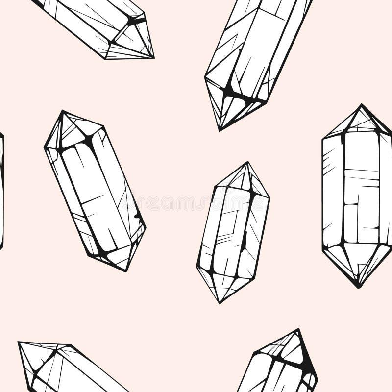 Modèle sans couture avec la gemme en cristal Fond à la mode de hippie image stock