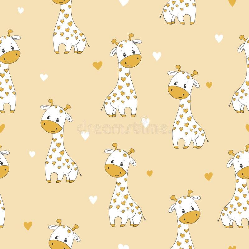 Modèle sans couture avec la girafe mignonne de bande dessinée illustration libre de droits