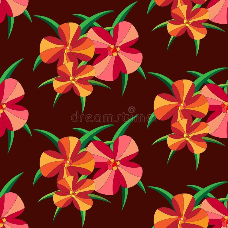 Modèle sans couture avec la large échelle de la fleur et de la feuille à l'arrière-plan profond de couleur de rouille images libres de droits