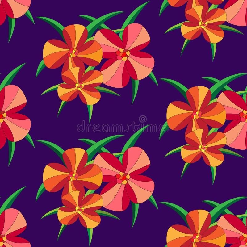 Modèle sans couture avec la large échelle de la fleur et de la feuille à l'arrière-plan violet de couleur photos libres de droits