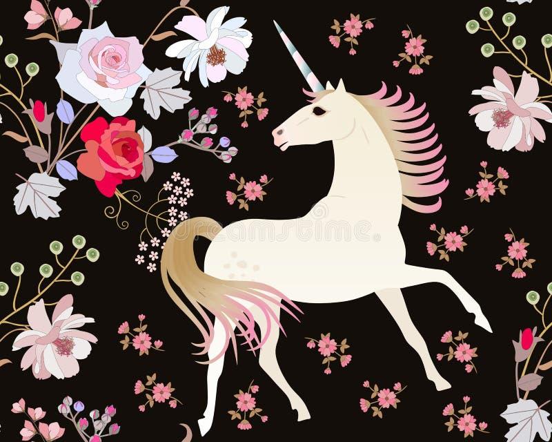 Modèle sans couture avec la licorne féerique et belles les fleurs de jardin d'isolement sur le fond noir dans le vecteur Copie po illustration libre de droits