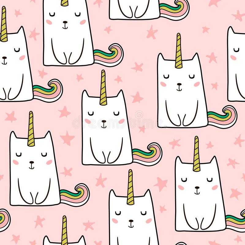 Modèle sans couture avec la licorne mignonne tirée par la main de chats Illustration de chat de dessin animé Perfectionnez pour l illustration libre de droits