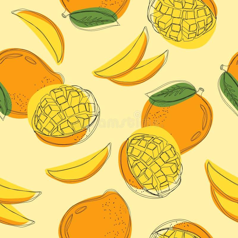 Modèle sans couture avec la mangue Ligne ontinuous illustration tirée par la main de ¡ de Ð de vecteur illustration de vecteur