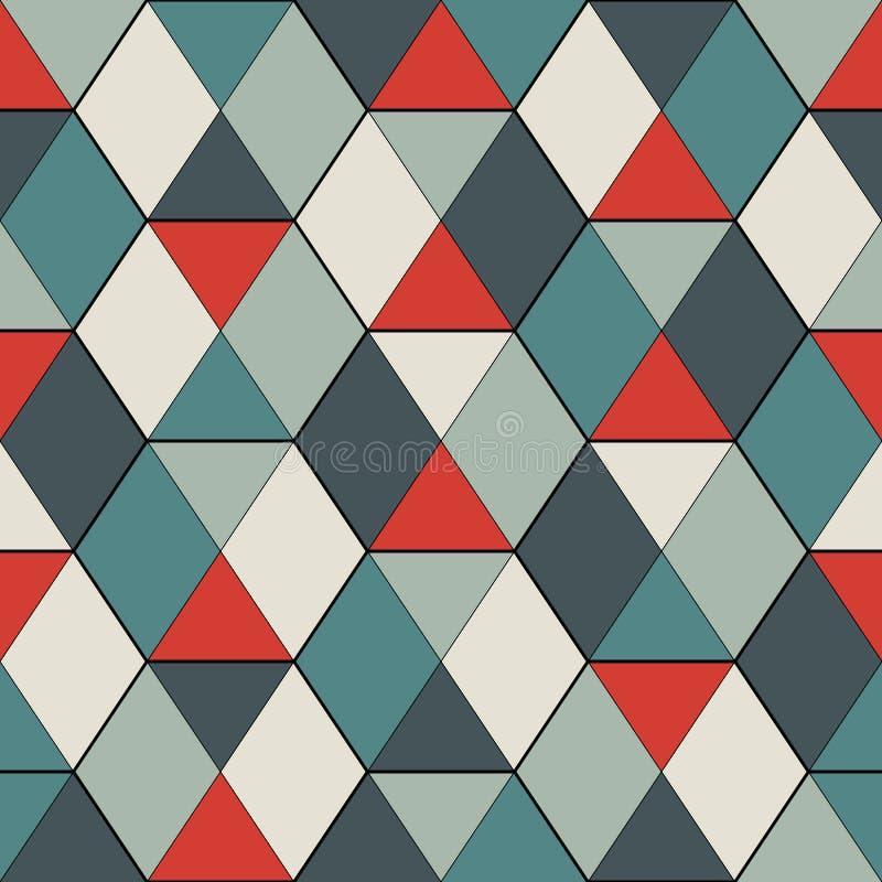 Modèle sans couture avec la mosaïque en verre souillé Copie contemporaine avec les triangles répétées Fond géométrique moderne illustration libre de droits