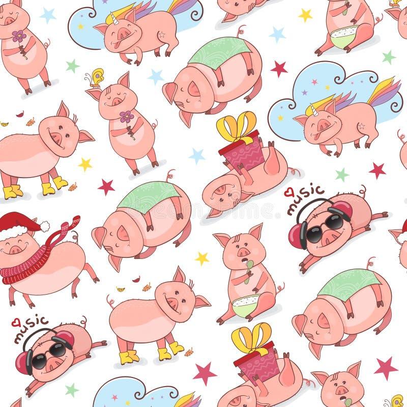 Modèle sans couture avec la nouvelle année du symbole 2019 porcins drôles dans le style de griffonnage Le porcelet écoute la musi illustration stock