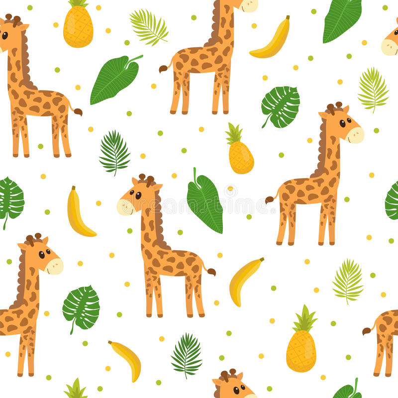Modèle sans couture avec la petite girafe de bande dessinée mignonne Fond d'enfants Animaux de bébé de bande dessinée Conception  illustration libre de droits