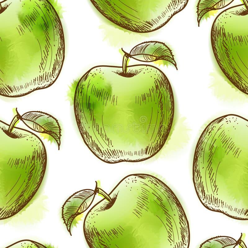 Modèle sans couture avec la pomme verte illustration de vecteur