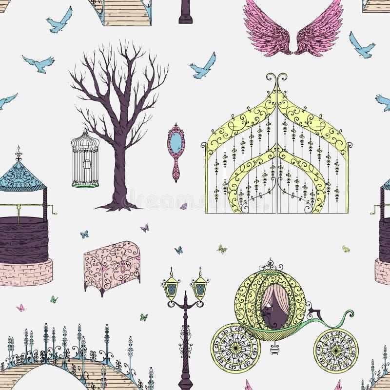 Modèle sans couture avec avec la porte, le chariot, la licorne, la lanterne, les ailes, le coffre, les oiseaux et les papillons T illustration stock