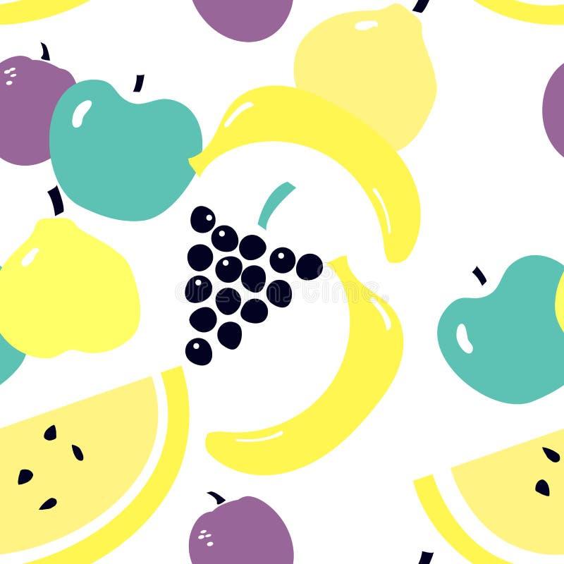 Modèle sans couture avec la prune, pomme, poire, banane, melon, raisins - fruits saisonniers illustration libre de droits