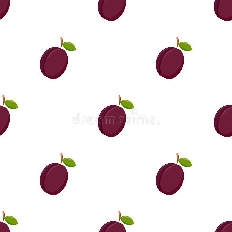 Modèle sans couture avec la prune sur le fond blanc illustration libre de droits