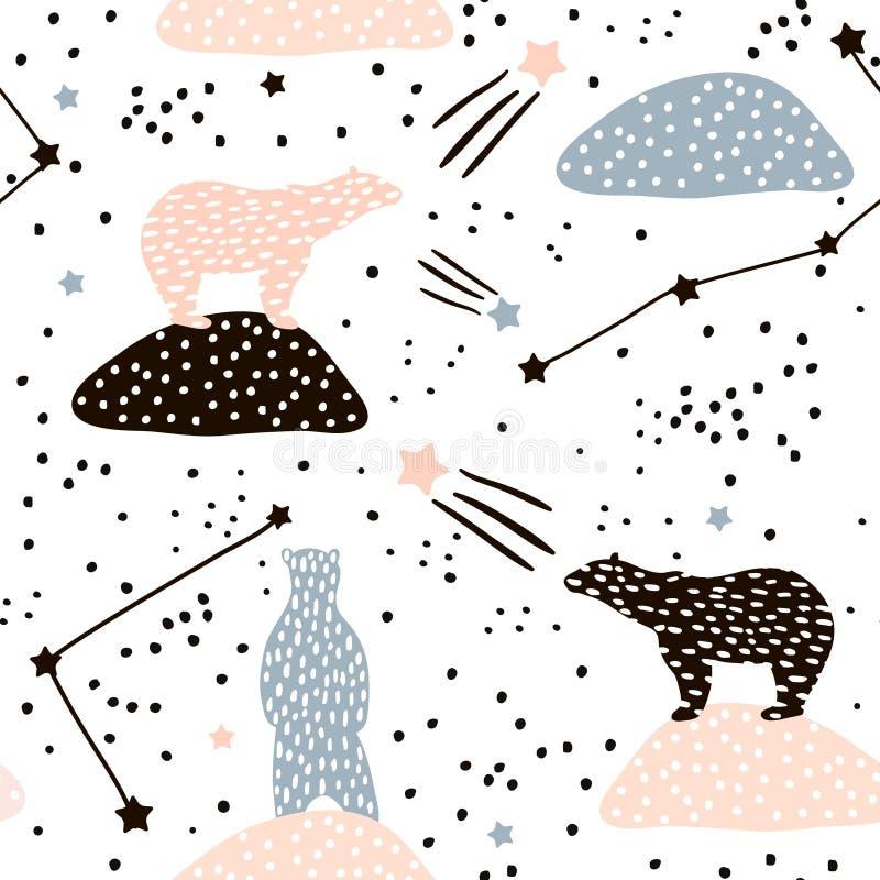 Modèle sans couture avec la silhouette et les constellations d'ours blancs Perfectionnez pour le tissu, textile Fond de vecteur illustration libre de droits