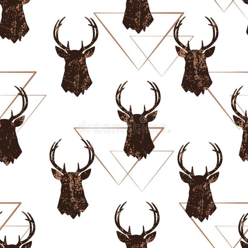 Modèle sans couture avec la tête des cerfs communs et des silhouettes géométriques Ornement de vecteur illustration libre de droits