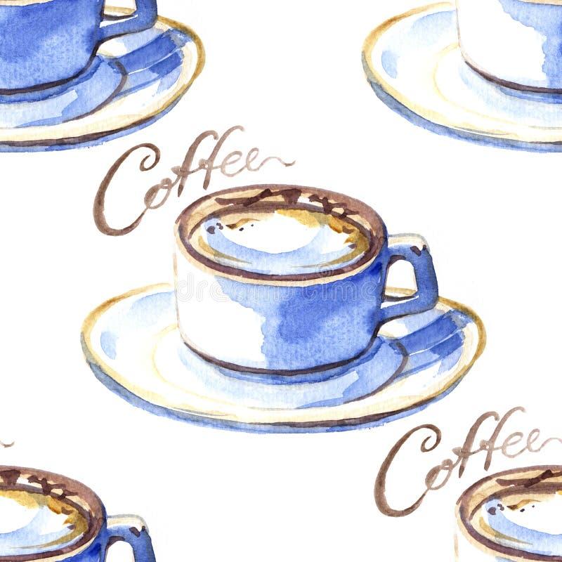 Mod?le sans couture avec la tasse de caf? peinte ? la main d'aquarelle Fond de boissons dans la couleur brune en pastel parfaite  illustration stock
