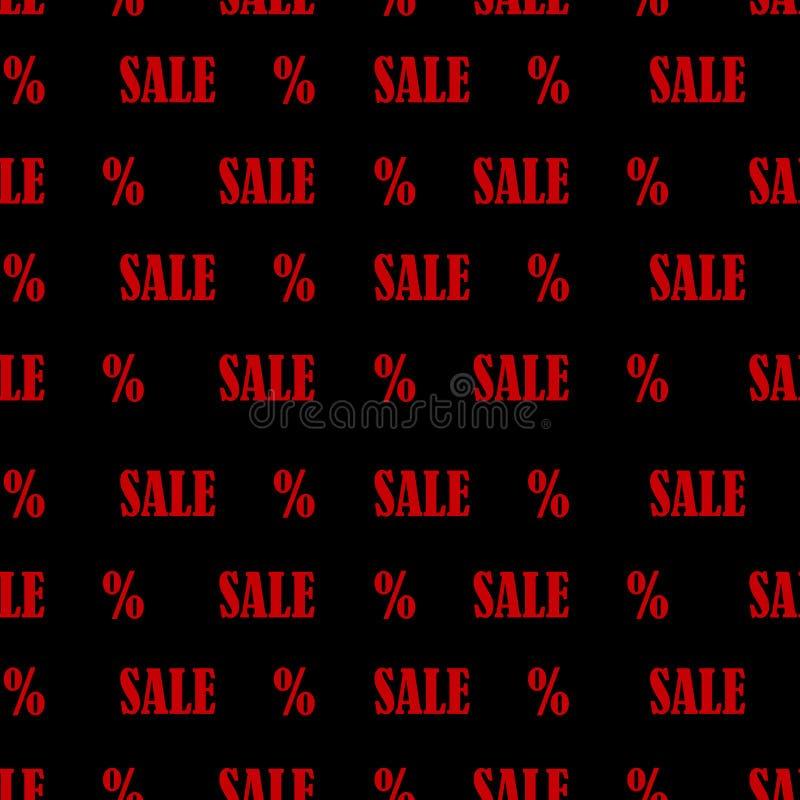 Modèle sans couture avec la vente et les pour cent de textes de rouge Fond de vente de Black Friday illustration de vecteur