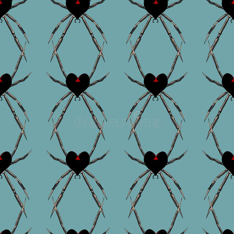 Modèle sans couture avec la veuve de coeur de noir d'araignée illustration stock