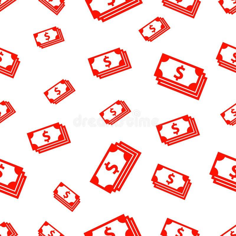 Modèle sans couture avec le billet d'un dollar illustration stock