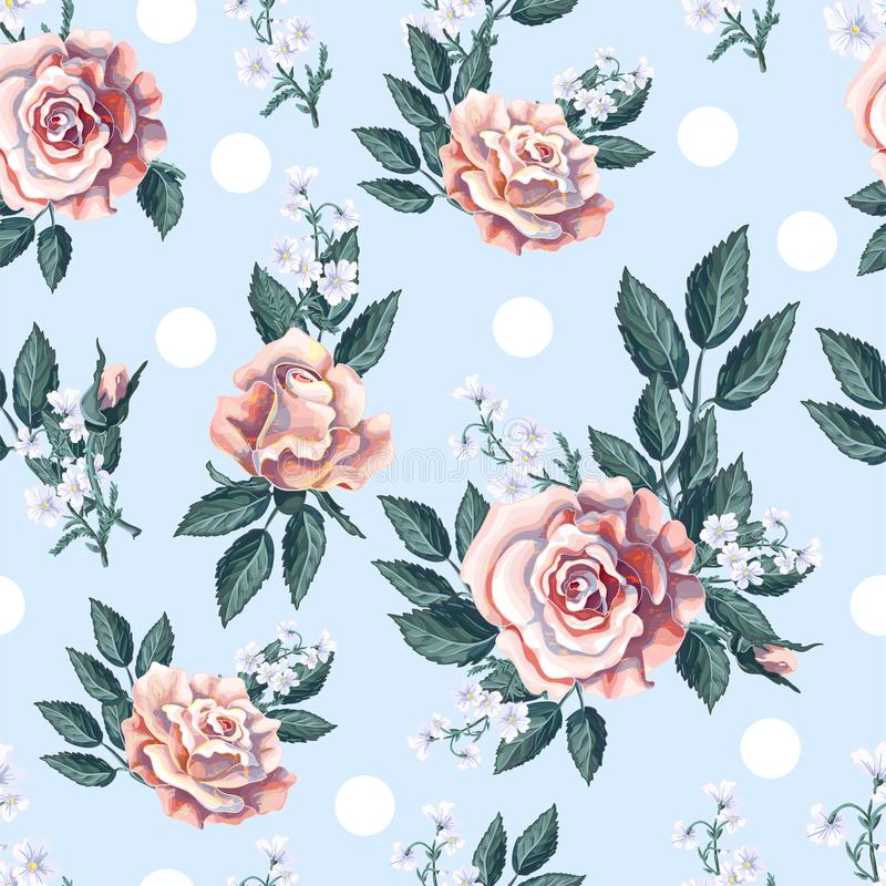 Modèle sans couture avec le bouquet de roses de thé sur le fond bleu-clair Illustration de vecteur illustration de vecteur