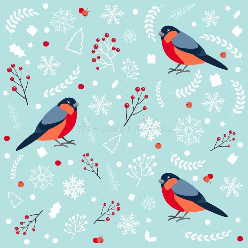 Modèle sans couture avec le bouvreuil Cartes de voeux de conception de Noël et de nouvelle année Illustration de vecteur illustration de vecteur