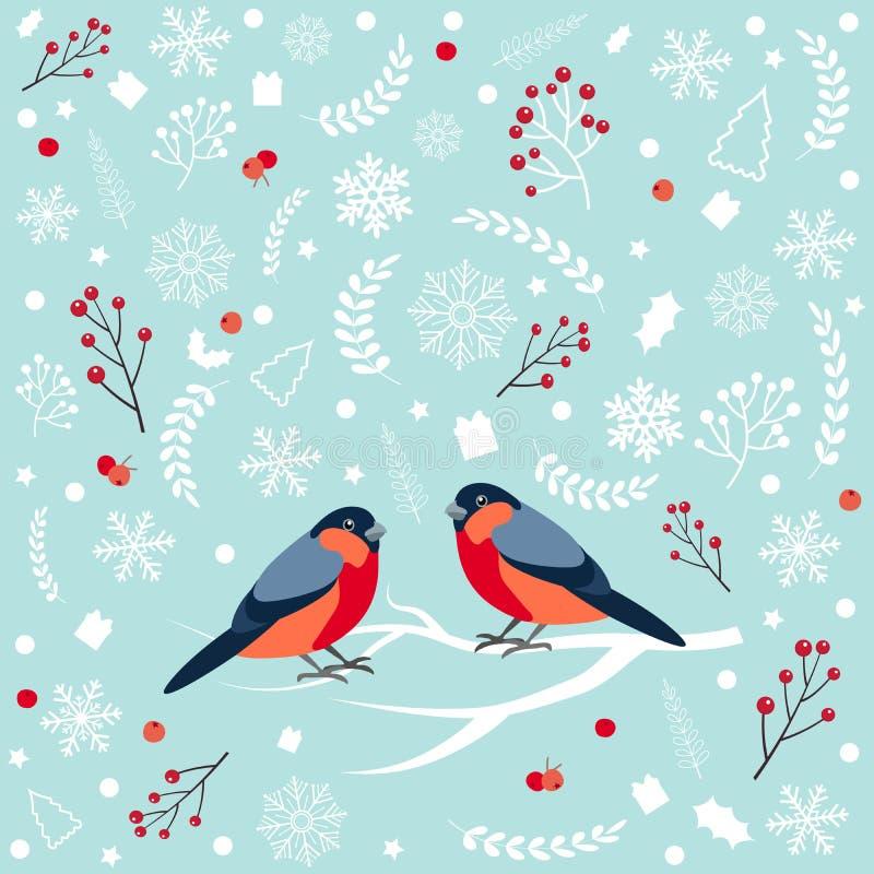 Modèle sans couture avec le bouvreuil se reposant sur la branche couverte de neige de la cendre de montagne Salutation de concept illustration de vecteur
