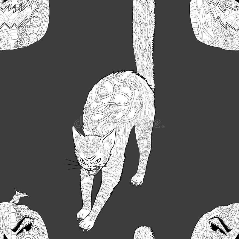 Modèle sans couture avec le chat et le potiron de Halloween illustration libre de droits