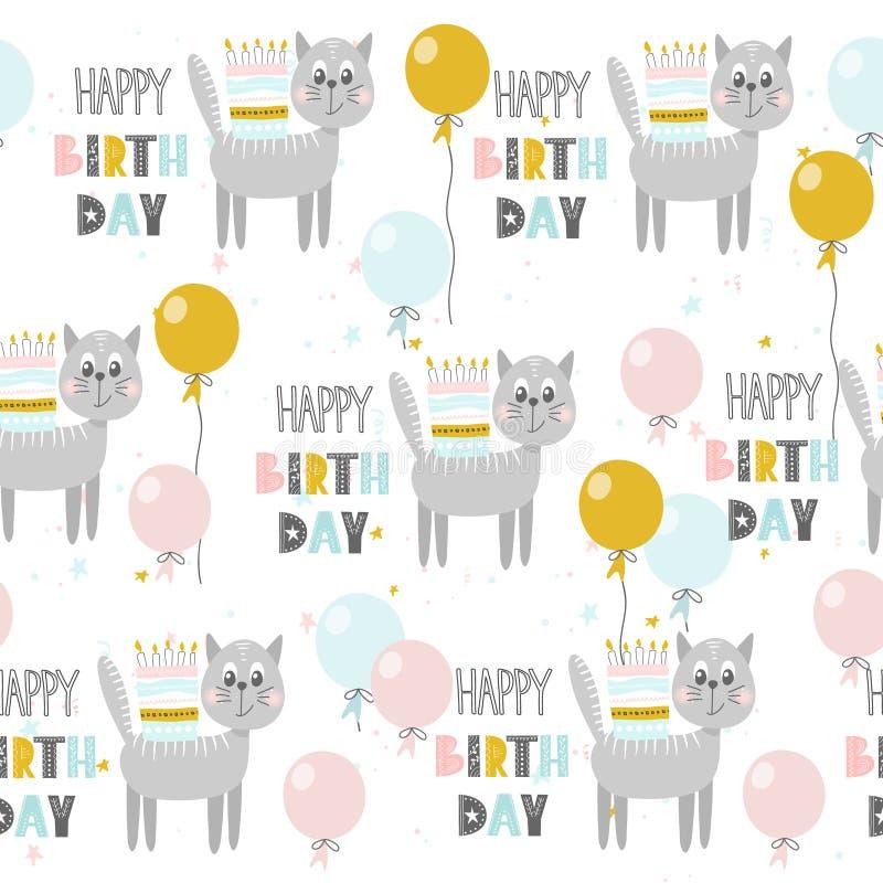 Modèle sans couture avec le chat mignon, le gâteau, les ballons et marquer avec des lettres le joyeux anniversaire Illustration d illustration stock
