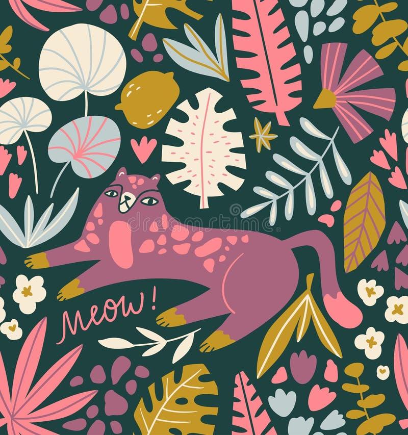 Modèle sans couture avec le chat sauvage et les feuilles tropicales - pour le décor à la maison, copie, affiche, carte de voeux c illustration libre de droits
