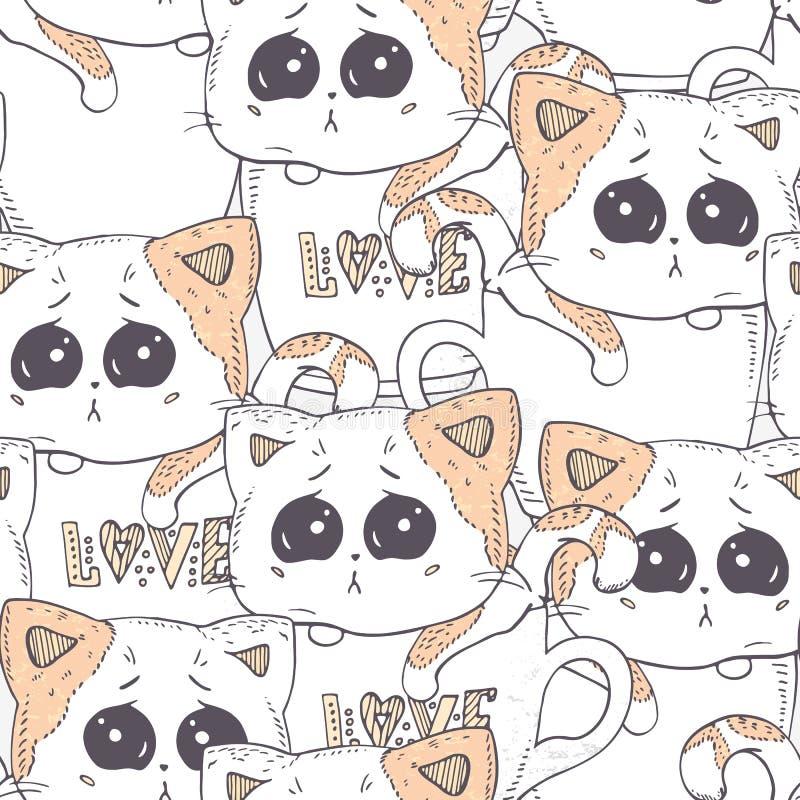 Modèle sans couture avec le chaton tiré par la main Illustration de conception de fond de dessin animé? avec l'espace du texte illustration libre de droits