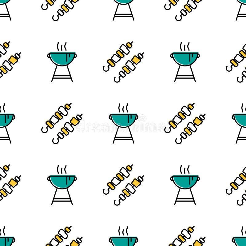 Modèle sans couture avec le chiche-kebab et le barbecue illustration de vecteur