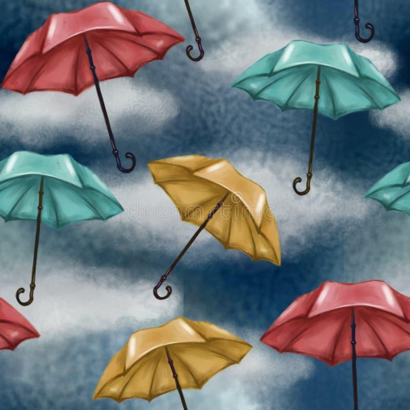 Modèle sans couture avec le ciel nuageux et pluvieux Parapluies multicolores Bleu, rouge et jaune weather climate illustration de vecteur