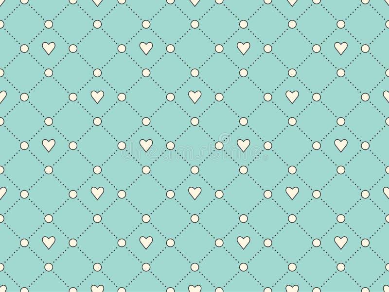 Modèle sans couture avec le coeur blanc et point sur un fond de turquoise pour la Saint-Valentin Illustration de vecteur illustration stock