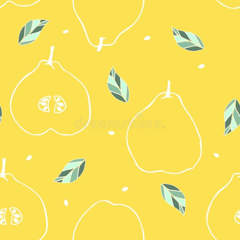 Modèle sans couture avec le coing, la feuille et la graine d'ensemble Fond de fruit tropical illustration de vecteur