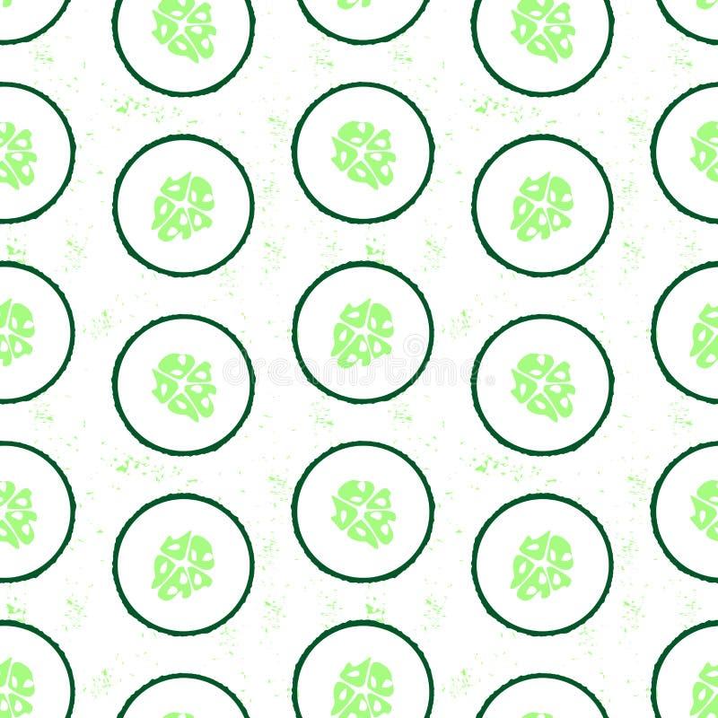 Modèle sans couture avec le concombre coupé en tranches - légume de saison d'été Dessin haut ?troit de concombre coup? illustration libre de droits