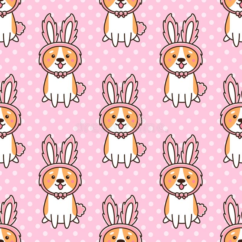 Modèle sans couture avec le corgi mignon de gallois de race de chien dans des oreilles d'un lapin de chapeau, sur un fond rose av illustration de vecteur