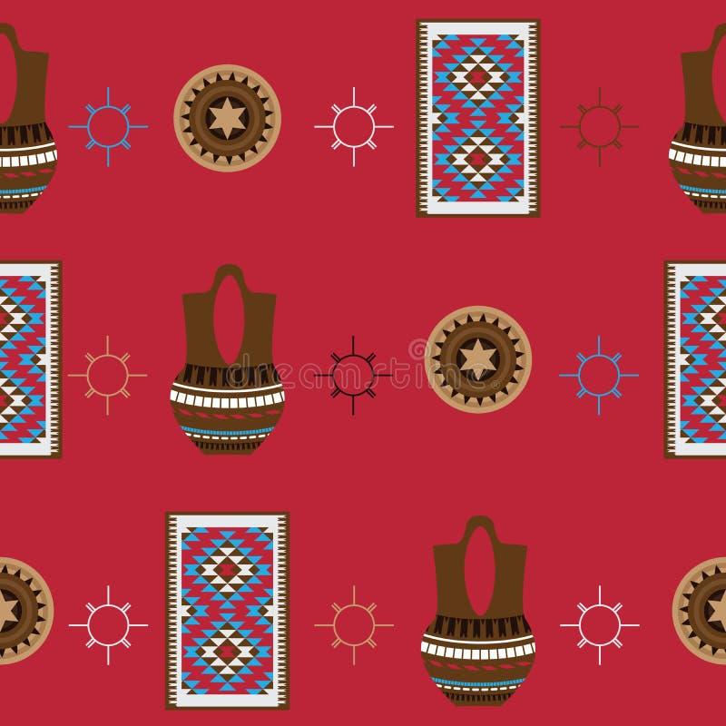 Modèle sans couture avec le fond lumineux Articles de ménage indigènes américains d'Indiens comme poterie et couverture de Navajo illustration libre de droits