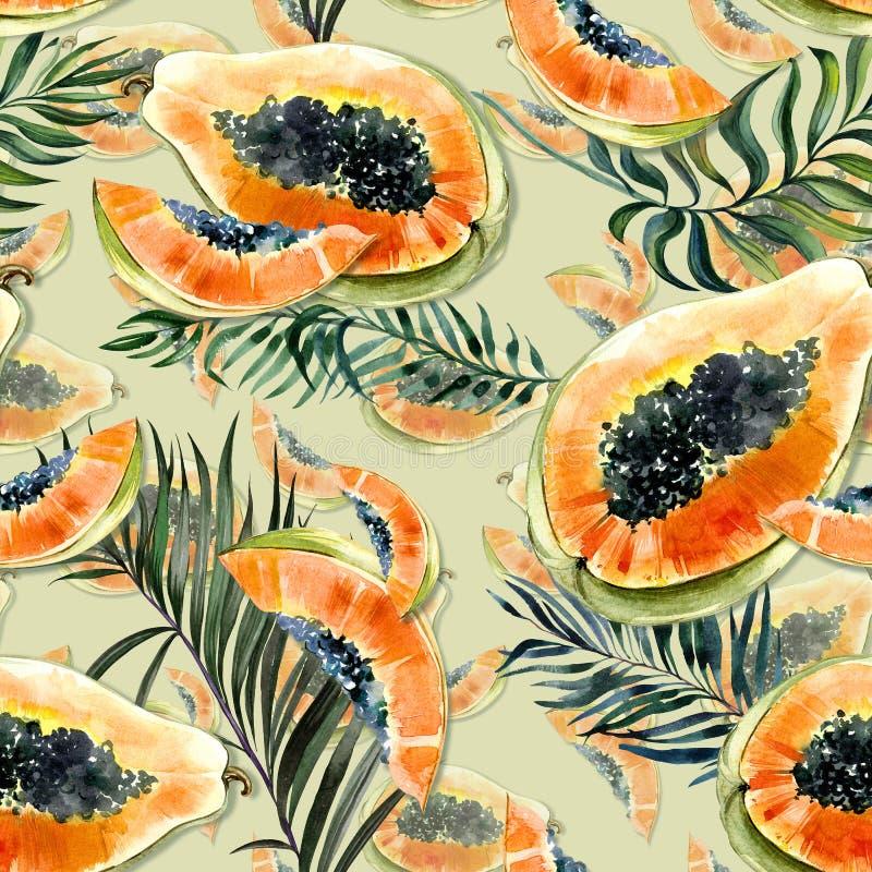 Modèle sans couture avec le fruit exotique lumineux de papaye et palmettes sur le fond vert La papaye mûre avec les graines noire illustration stock