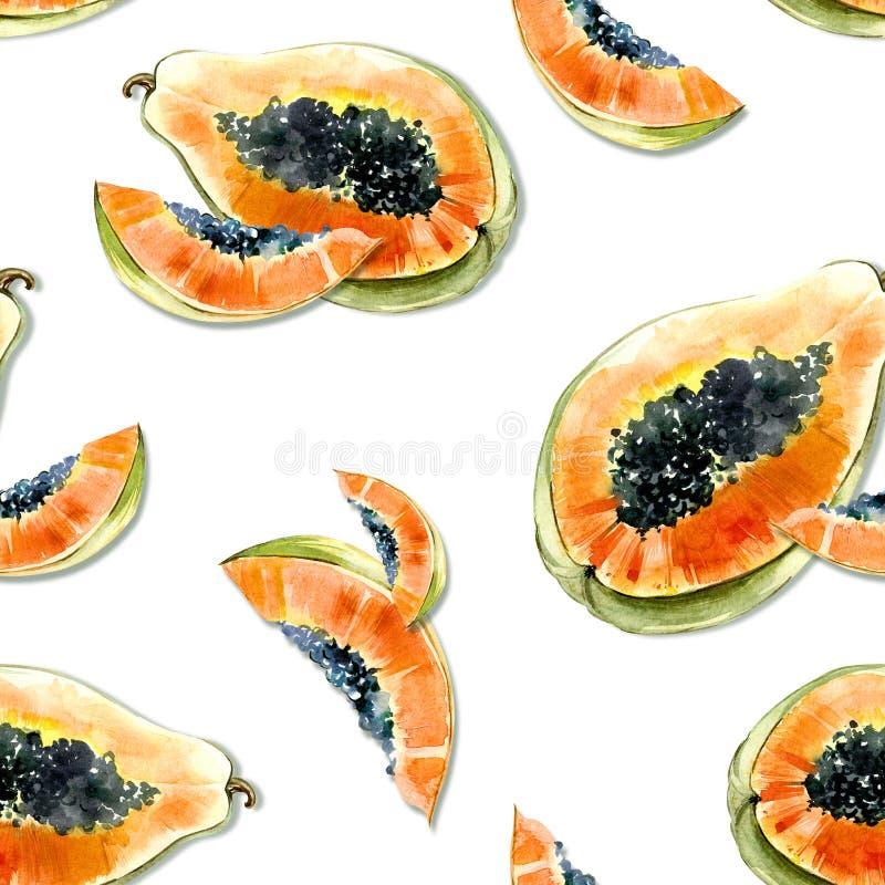 Modèle sans couture avec le fruit exotique lumineux de papaye sur le fond blanc La papaye mûre avec les graines noires a coupé da illustration stock