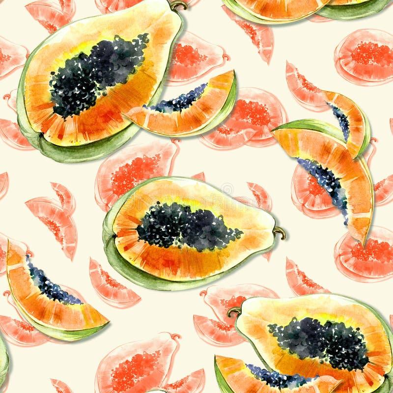 Modèle sans couture avec le fruit exotique lumineux de papaye sur le fond blanc La papaye mûre avec les graines noires a coupé da illustration de vecteur