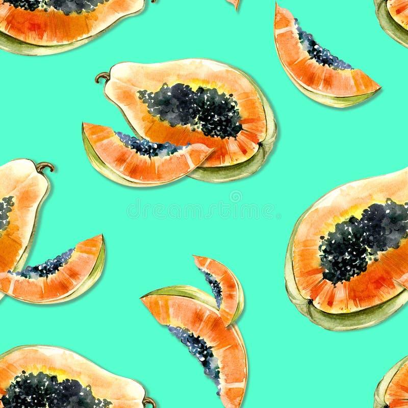 Modèle sans couture avec le fruit exotique lumineux de papaye sur le fond bleu La papaye mûre avec les graines noires a coupé dan illustration stock