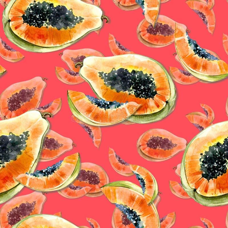 Modèle sans couture avec le fruit exotique lumineux de papaye sur le fond rouge La papaye mûre avec les graines noires a coupé da illustration de vecteur