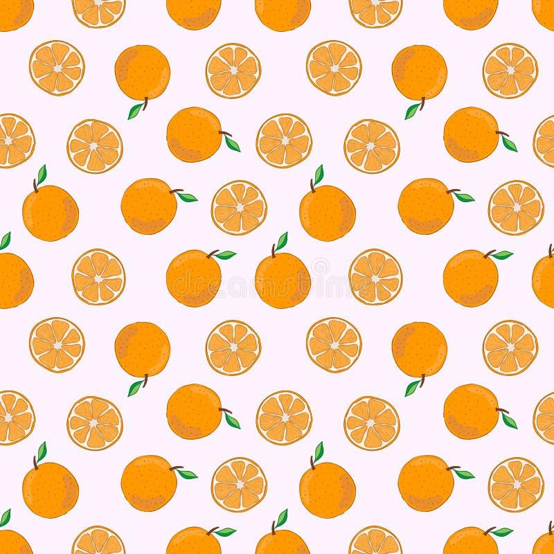 Modèle sans couture avec le fruit orange Illustration de vecteur illustration stock