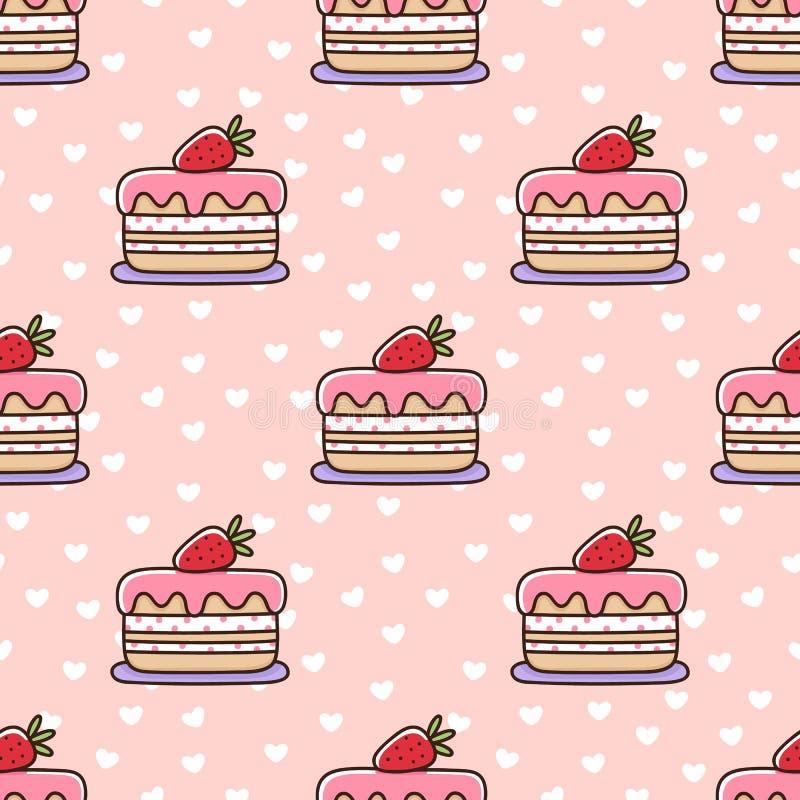 Modèle sans couture avec le gâteau de fraise, sur un fond rose avec les coeurs blancs illustration stock