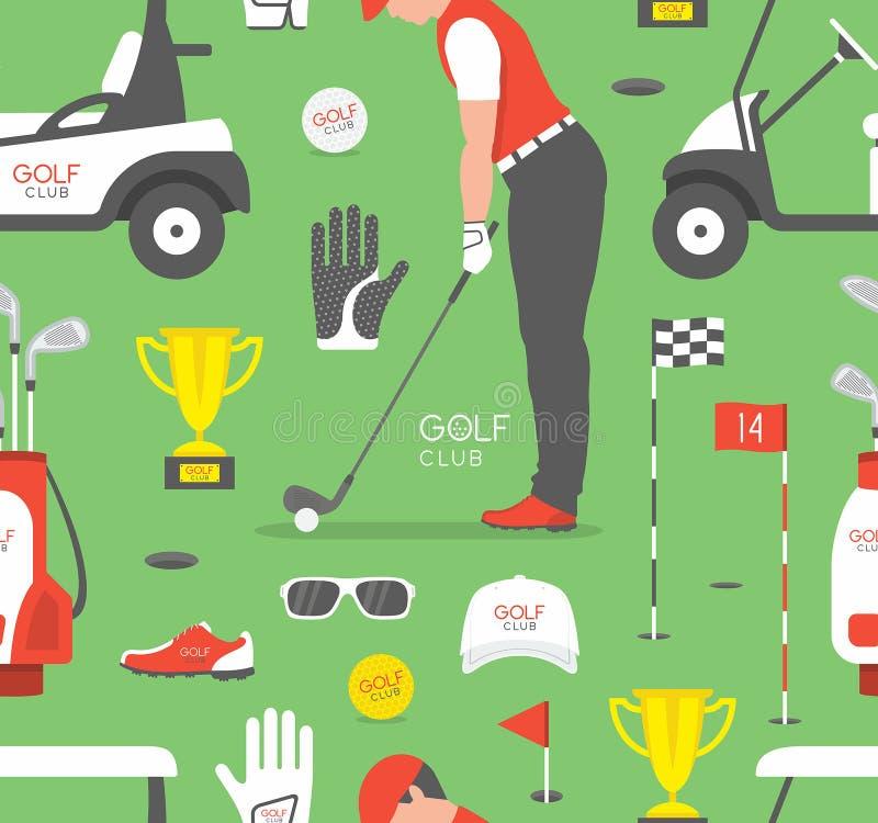 Modèle sans couture avec le jeu de golf illustration de vecteur