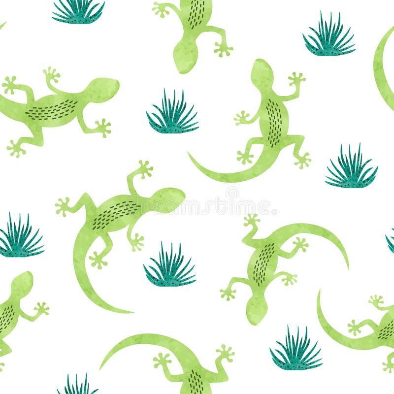 Modèle sans couture avec le lézard vert d'aquarelle illustration de vecteur