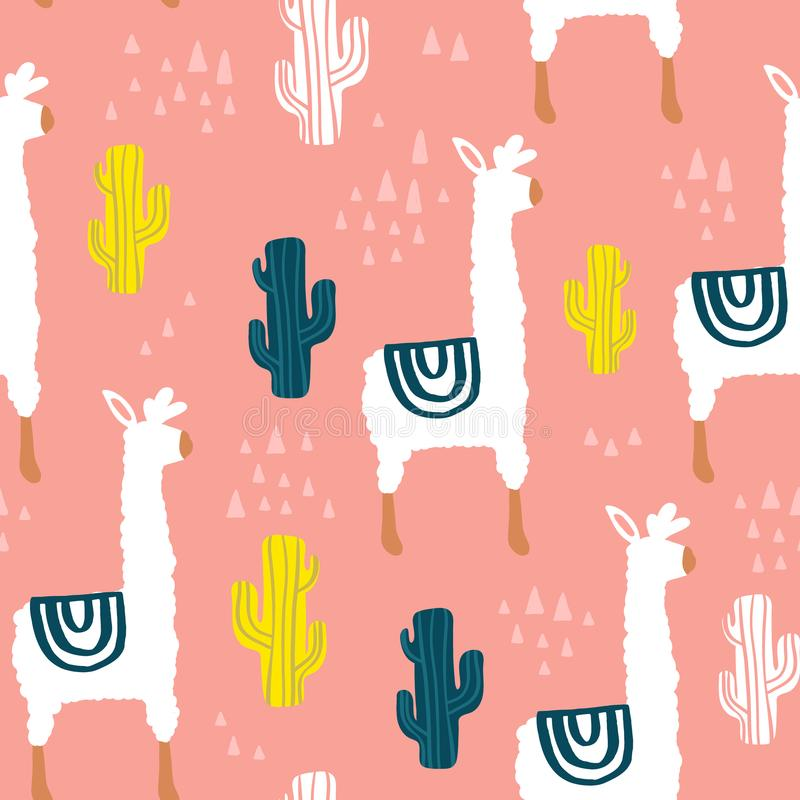 Modèle sans couture avec le lamma, le cactus et les éléments tirés par la main Texture puérile Grand pour le tissu, illustration  illustration libre de droits