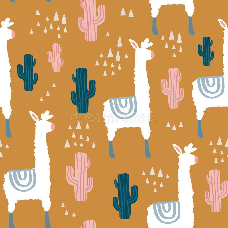Modèle sans couture avec le lamma, le cactus et les éléments tirés par la main Texture puérile Grand pour le tissu, illustration  illustration de vecteur