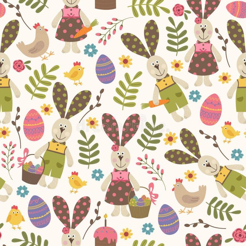 Modèle sans couture avec le lapin de Pâques illustration stock