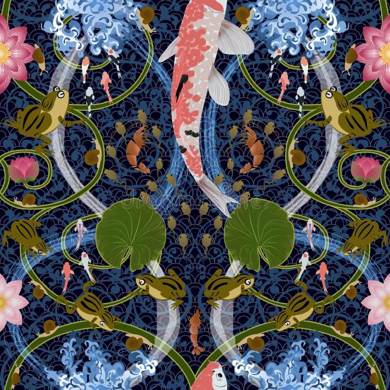 Modèle sans couture avec le lotus et les carpes illustration de vecteur