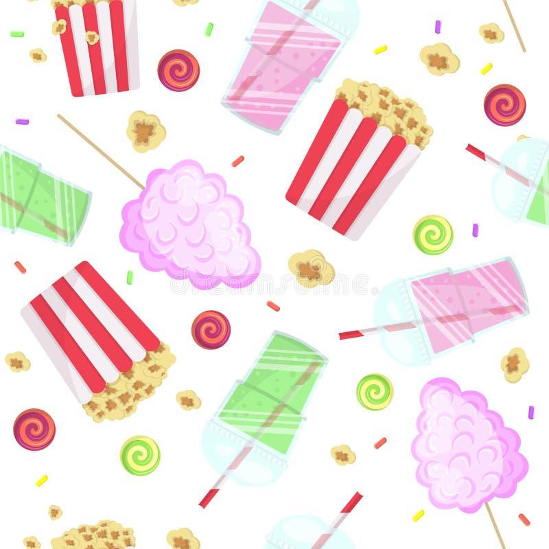Modèle sans couture avec le maïs éclaté, le smoothie et la sucrerie de coton Nourriture de rue de nourriture de parc Fond d'été p photos libres de droits